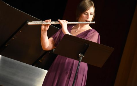 Adjunct professor Melissa King performed on the flute and was accompanied by Dr. Angela Miller-Niles on the piano at the faculty recital in Ley Theatre last Friday night.