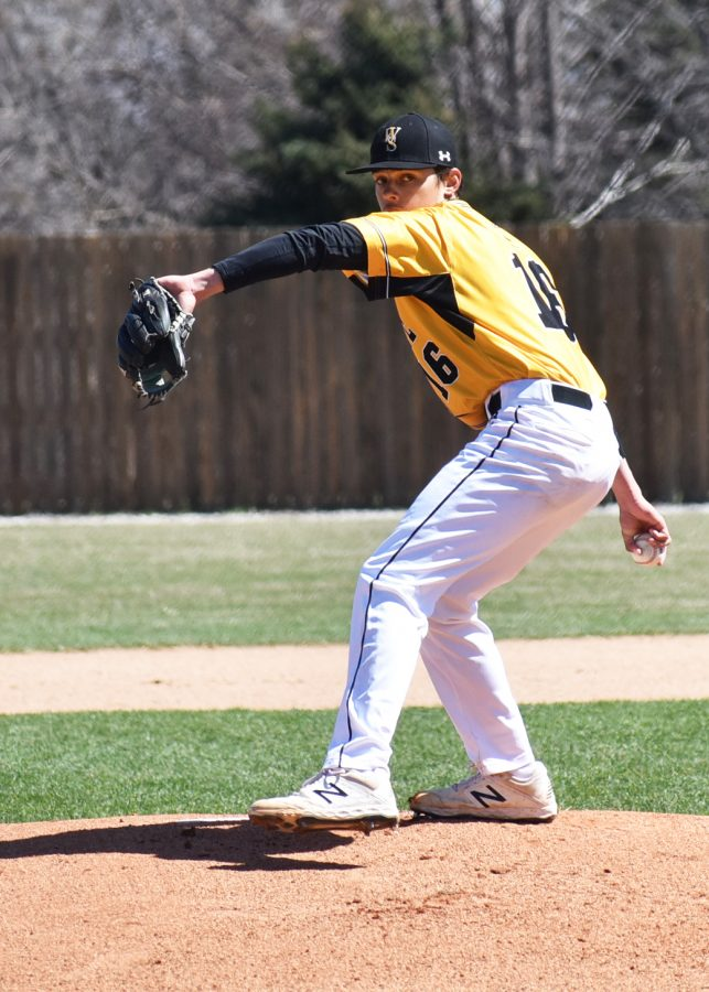 Freshman pitcher Cade Herrmann readies to throw across the plate in Sunday's 4-2 victory against the Unviersity of Sioux Falls Cougars, completing the weekend sweep.