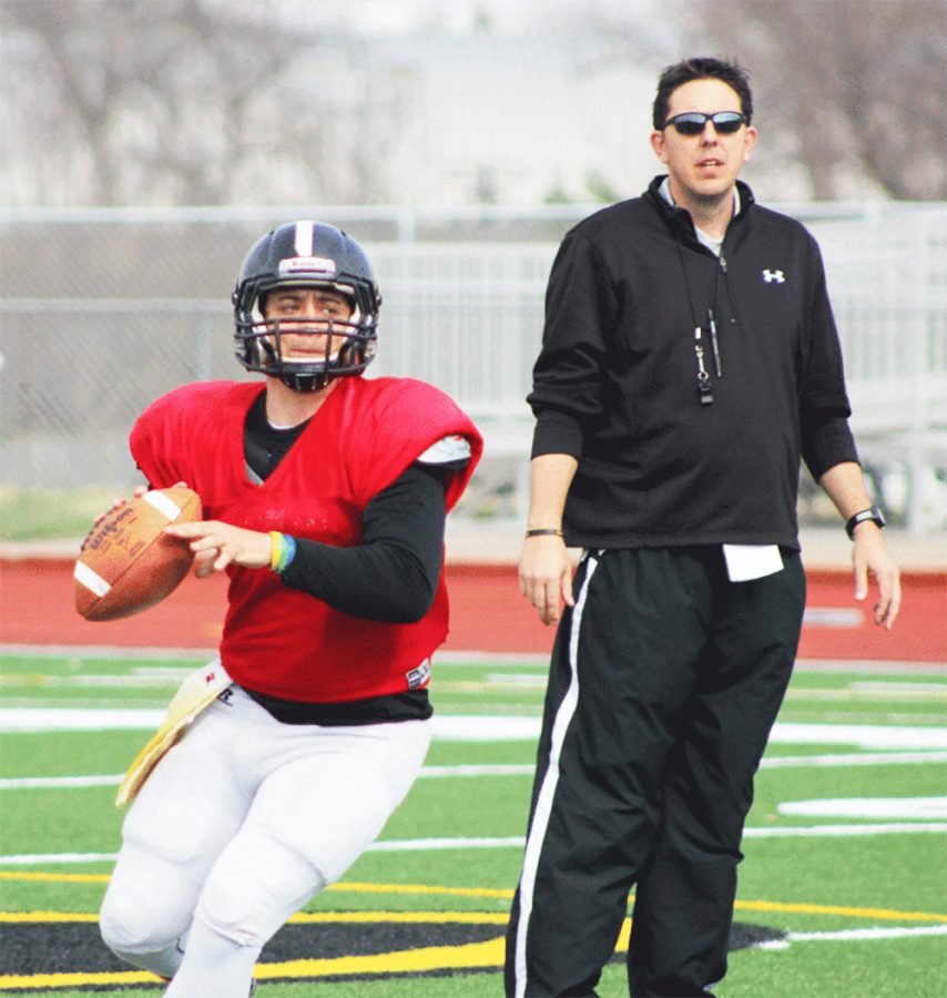 John McMenamin with a student-athlete during his stint as WSC offensive coordinator