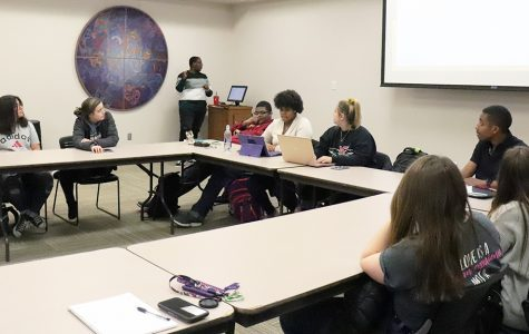 Members of the Black Student Association at a meeting led by Club President Devyn Davis.