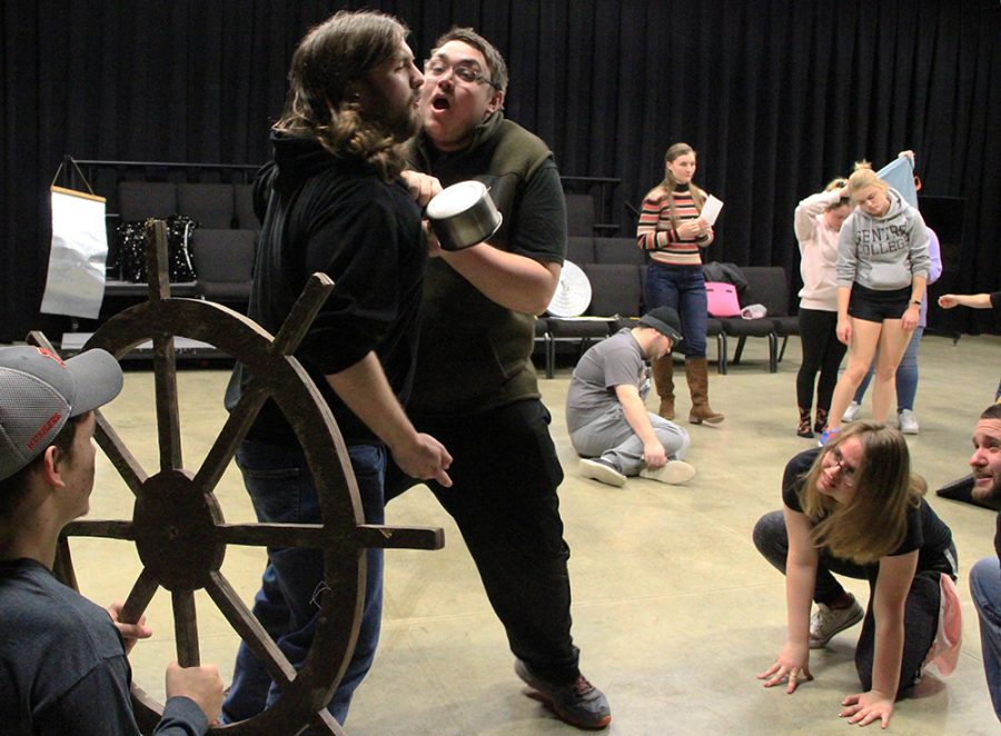 """Students in the children's theatre class play their parts in preparation for their upcoming show, """"Ship of Dreams."""" The class is responsible for creating scenes and plays from the ground up."""