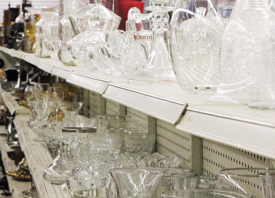 The crystal ware sparkles and shines inside Thrift Warehouse.