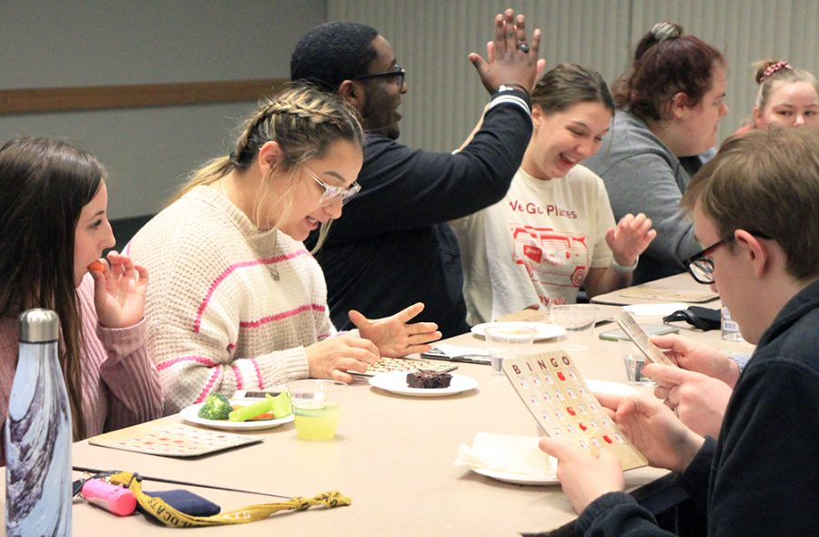 Bingo Night contained as much excitement as concentration, as shown by these WSC students.