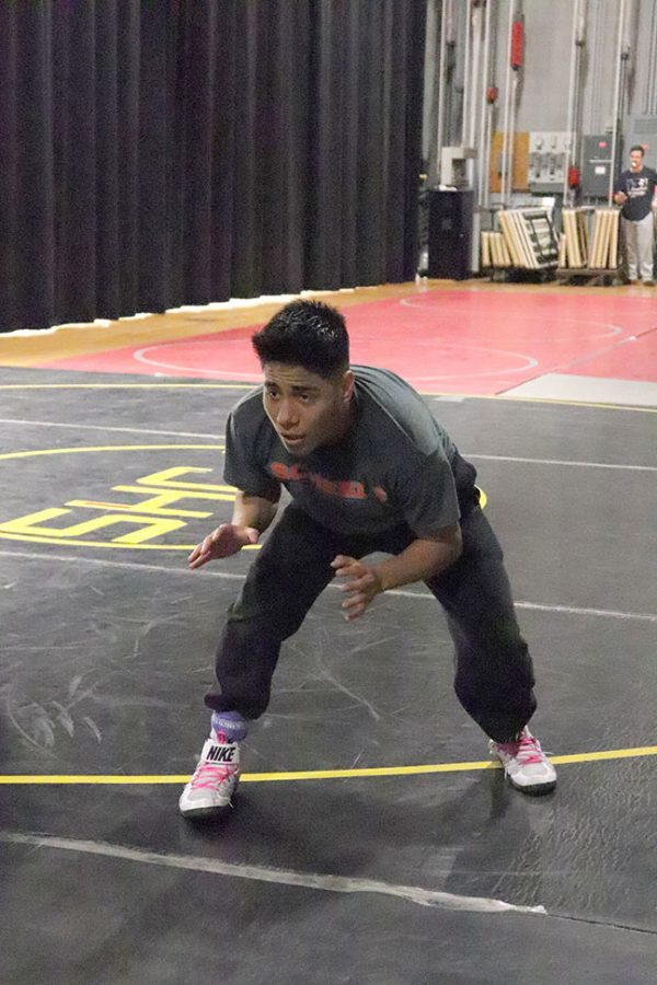 Marcos Osorio is pictured during WSC wrestling practice.
